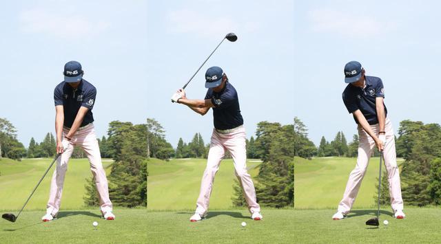 画像: 「イチ・ニイ・サン」のリズムに合わせて、一定のテンポでスウィングする練習ドリルが、下半身リードの感覚を身につけるのに効果的だ