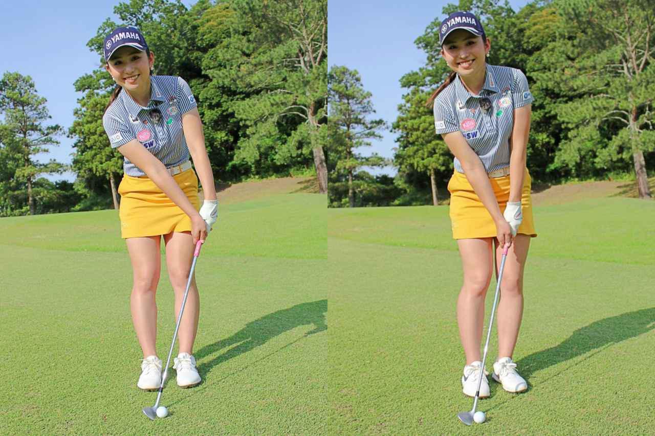 画像: 写真A:写真左は、腕と手元が体から大きく離れてしまっている。写真右は、右ひじが右わき腹辺りと接するくらい腕・手元と体の距離が近いことで、クラブ軌道が安定しやすい構えになっている