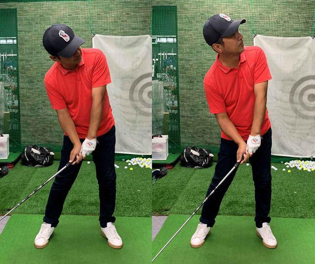 画像: 頭の位置を変えずに顔の向きだけを変えるのがルックアップ(左)で、頭の位置が上がってしまうのがヘッドアップ(右)。似て非なる動きなので注意しましょう