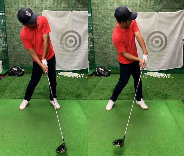 画像: ボクは左の写真のようにリリースが早くてクラブが下から入りがちなのですが、ルックアップだとリリースのタイミングが遅くなり右写真のようにハンドファーストでインパクトできるようになるらしいです