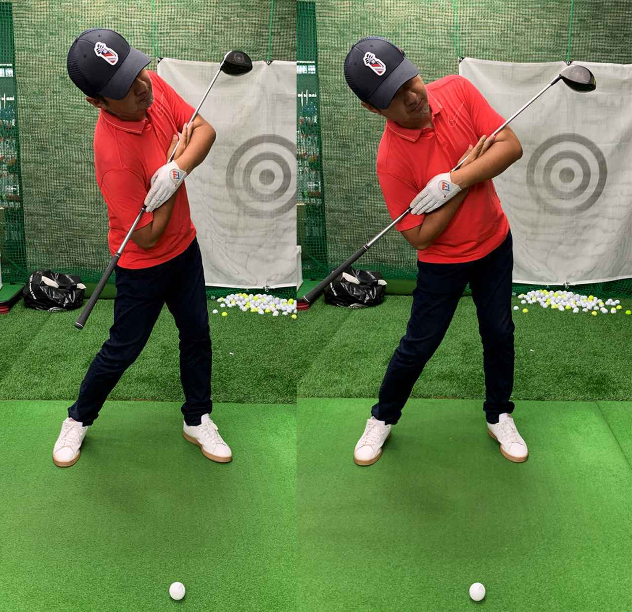 画像: 左のように肩のラインがボールを指すように回転してくるのがいいのですが、右のように上体が倒れすぎて肩のラインがボールの手前を指してはダメ