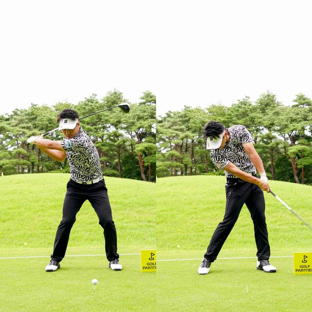 画像: 切り返しで左足に踏み込んだあと右足で踏み込むことで回転力を上げ飛距離に結びつけている(写真/JGTO images)
