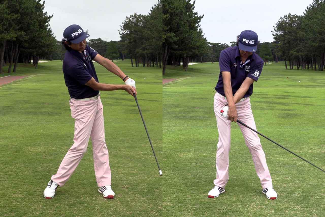 画像: スウィングのバランスが整うので、手元が先行しすぎる(左)、アーリーリリース(右)などの傾向がある人にはとくにいいと中村