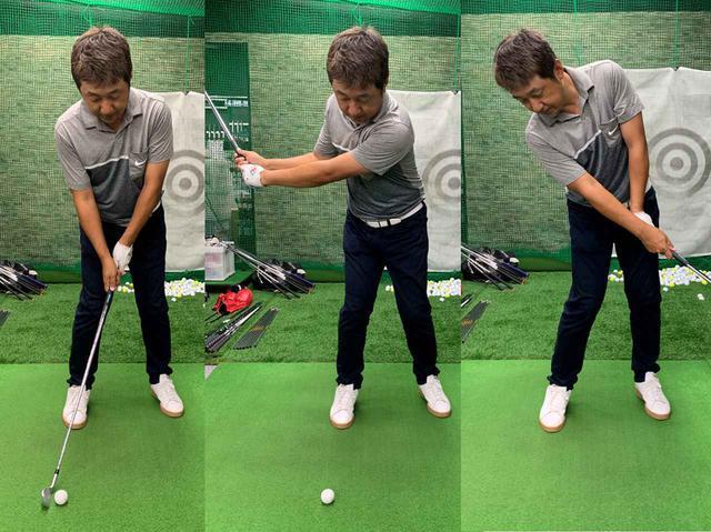 画像: 右つま先前に置いたボールを70~80ヤードを打つ感じで打ってみます