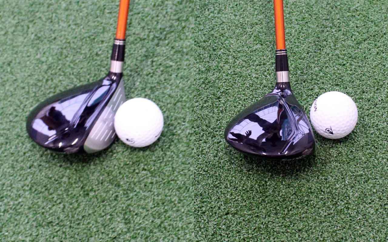 画像: ボール位置を体の内側へ寄せるほどインパクトのタイミングは早まってフェースが開いた状態で当たりやすい(左)。逆に体の外側に置けばフェースが閉じた状態でインパクトする(右)