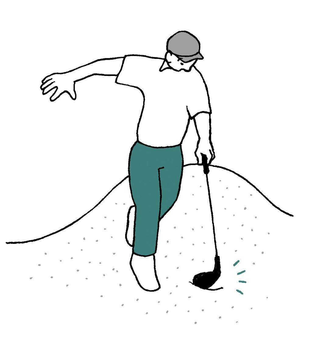 画像: 転びそうになり、クラブが砂に触れた場合は無罰