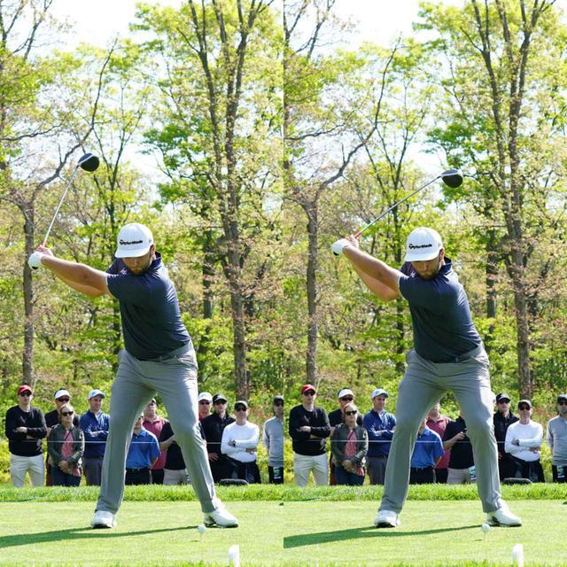 画像: 写真B:腕を体の前にキープしたまま遠くに上げるようにテークバックし、コンパクトなトップの位置から切り返す(写真は2019年の「全米プロゴルフ選手権」写真/姉崎正)