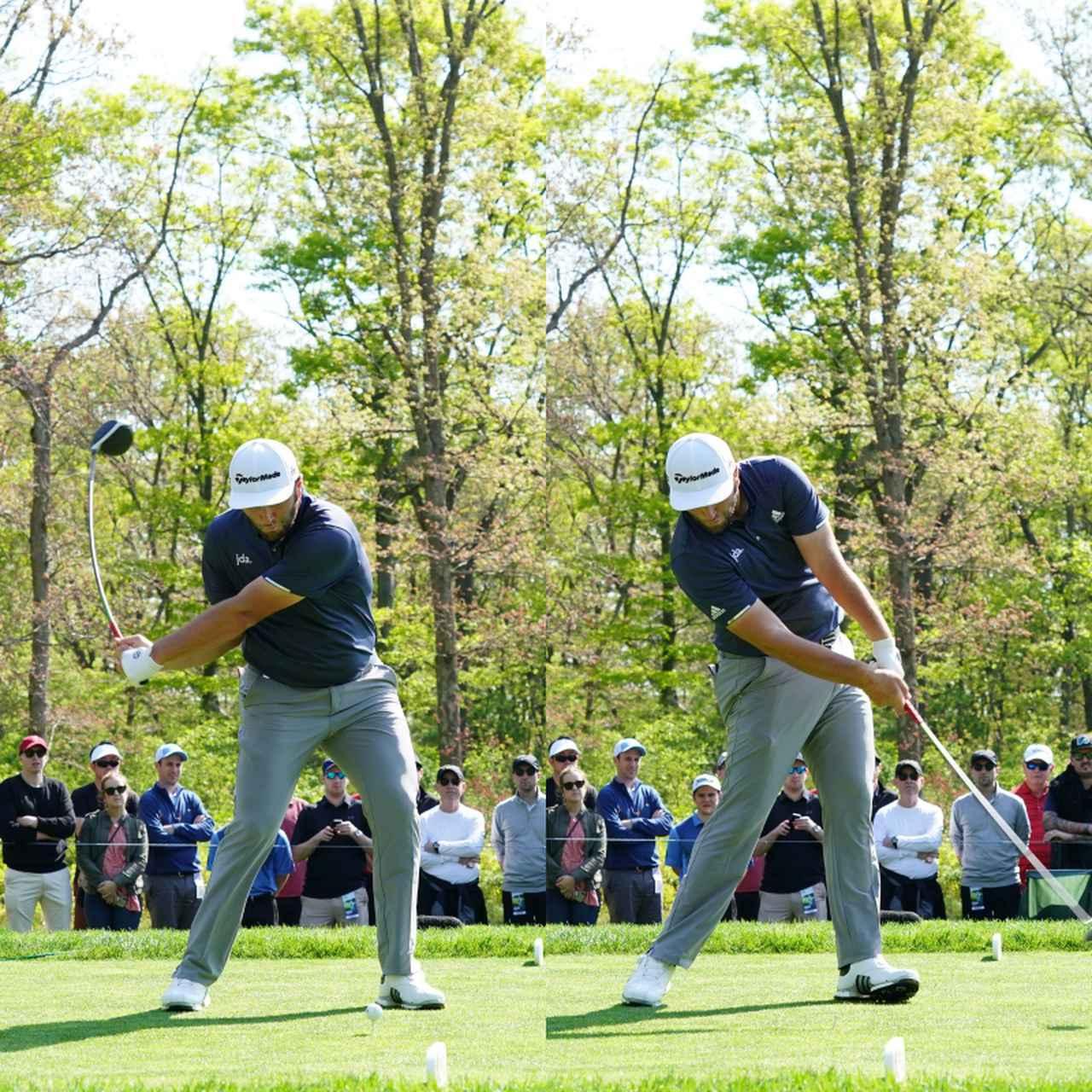 画像: 画像C:切り返しで踏み込んだ左足から強い回転力を得ようと左足のかかとに負荷がかかりつま先がめくれ上がっている(写真は2019年の「全米プロゴルフ選手権」写真/姉崎正)