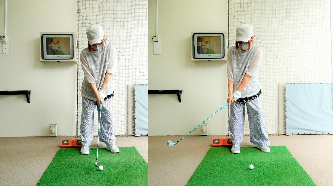 画像: テークバックでは右の股関節に軸を取りフェースを開かずに始動。シャフトの重量、しなりを感じ続けることが大切だという