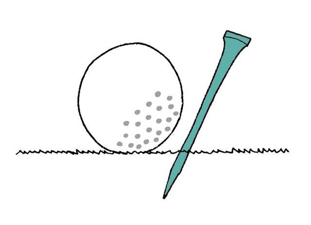 画像: グリーン上のボールをマークするためにティーを刺しても問題ない