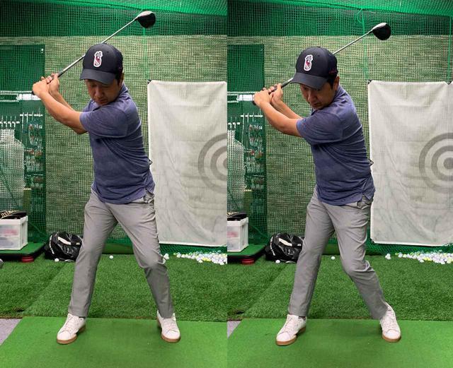 画像: 写真左のようにただかかとを上げたままテークバックするのではなく、右のようにしっかりと左ひざを内側にねじり込むようにして右足に体重を乗せていく
