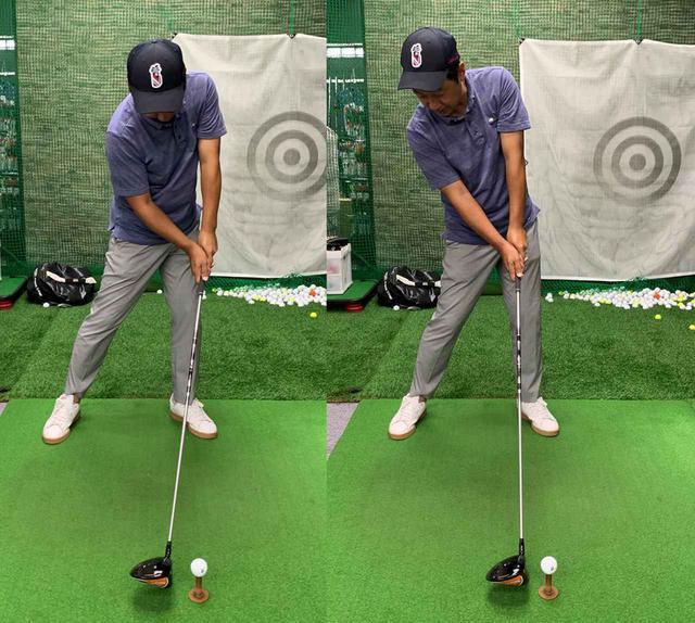 画像: 写真左のように、ここ一番で上体が左に突っ込み、ボールを叩きに行ってしまうので、右のように左へのスウェイをなくしてビハインド・ザ・ボールで打ちたい