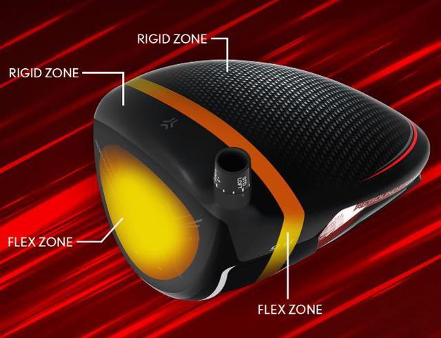 画像: 新テクノロジー「リバウンドフレーム」をウッド類すべてに搭載。画像中RIGIDは「堅い」FLEXは「曲がる」の意(画像はスリクソンのイギリス公式サイトのキャプチャ)