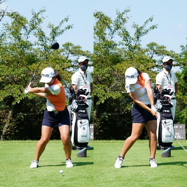 画像: 画像B:左手首をフラットにしフェースを早い段階からボールに向け、その向きを変えずにインパクト。方向性の良いスウィング