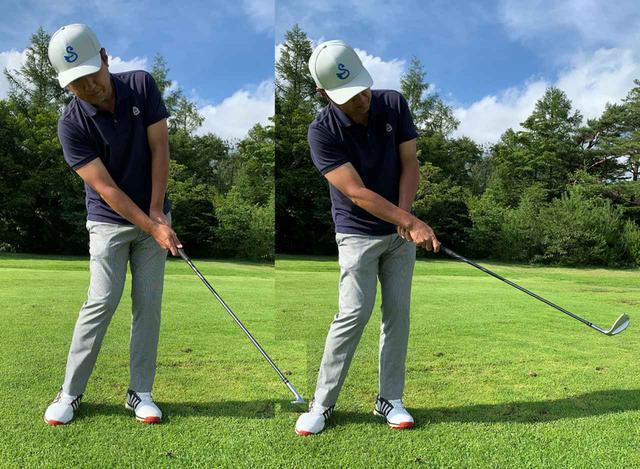 画像: フォローまで手首の角度を変えない。左写真のように手首を返す動きはダメ
