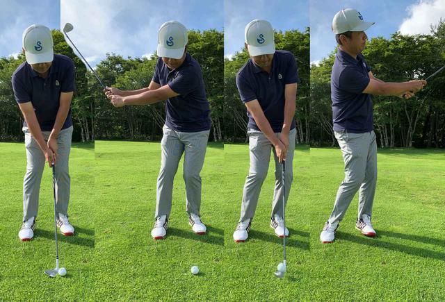 画像: 体幹を意識して、手首の角度を変えないように体の回転で振ると上手く打てる