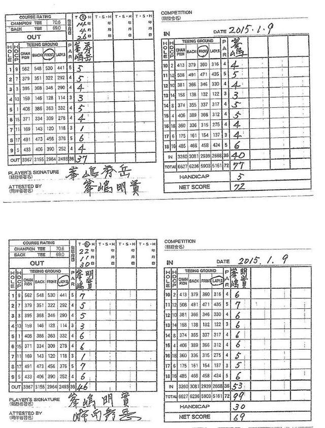 画像: 画像上が秀岳さんのスコアカード、下が明實さんのスコアカード。7番ホールのスコアはお互いに「1」。