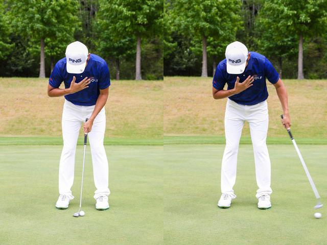 画像: アドレスからクラブを引かず、そのままフォローを出す。ポイントは左手首の角度を変えず、胸を下へ向けたままヘッドを出すこと