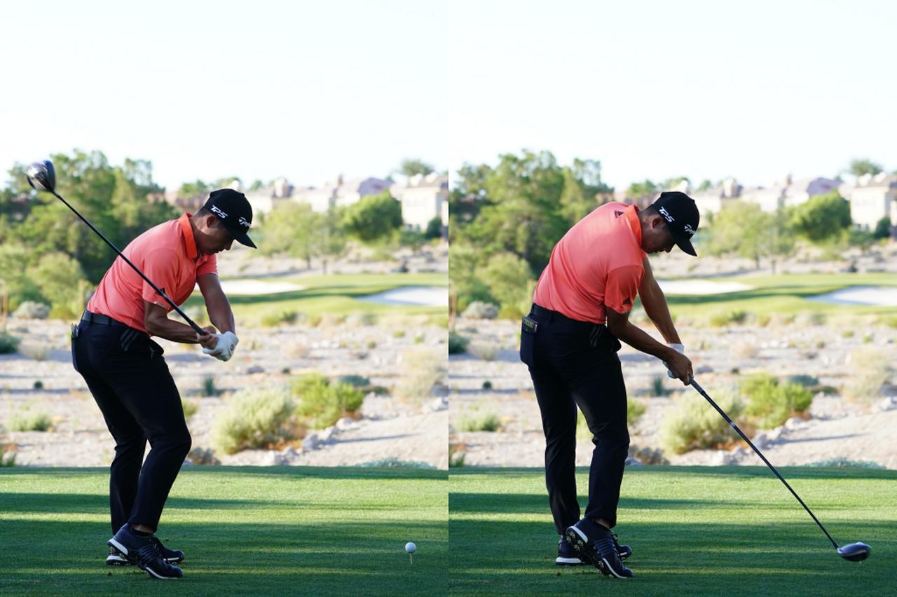 画像: 画像B:フェースを開かないぶん、しっかりと体を回転させ、ボールを押し込むようにインパクトしている(写真は2019年のシュライナーズホスピタル 撮影/姉崎正)