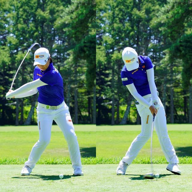画像: 左足を踏み込んでさらに回転力を得る地面からの反力を使って飛ばす(写真は2020年のNEC軽井沢72ゴルフトーナメント 代表撮影:岡沢裕行)