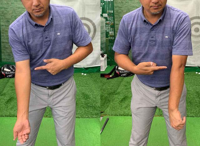 画像: 左腕は右に回し、ひじを外側に向ける。右腕も右に回し、ひじを内側に向ける