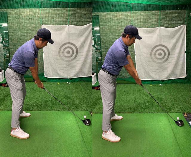画像: 写真左が普段の構え方。デシャンボーのようにハンドアップで構えてみると(右)、かなり違和感があります