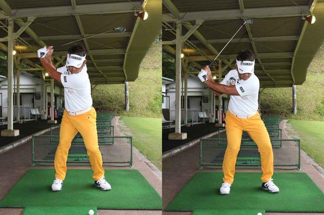 画像: 写真A:通常のショットの場合はトップまで上げてから切り返しの動作に入るが、パワーフェードを打つ場合は手元が写真右まで上がった段階で腰を切り返しはじめると藤田