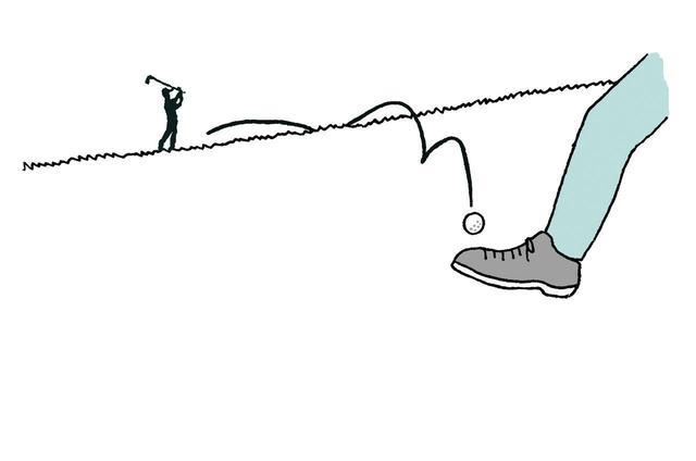 画像: ミスショットが自分の方に転がってきたが、この先は! つい人情で球を止めてしまうこともありえる