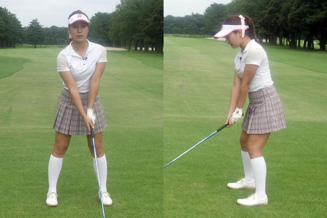 画像: アドレス時の姿勢はひざを過剰に曲げたり、前傾姿勢をし過ぎず、できるだけ重心を高い位置に置く。スタンス幅も自然に立てるくらいがベストだという