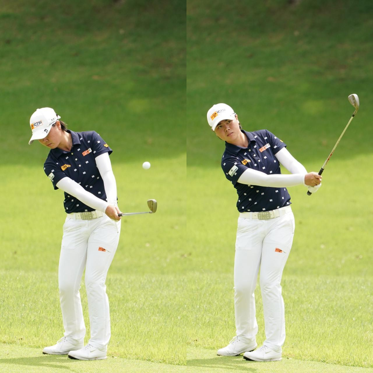 画像: 手首をこねずにボールをフェースに乗せるように球を運ぶアプローチだ(写真はISPS HANDA 医療従事者応援 チャリティレディーストーナメント 写真/大澤進二)