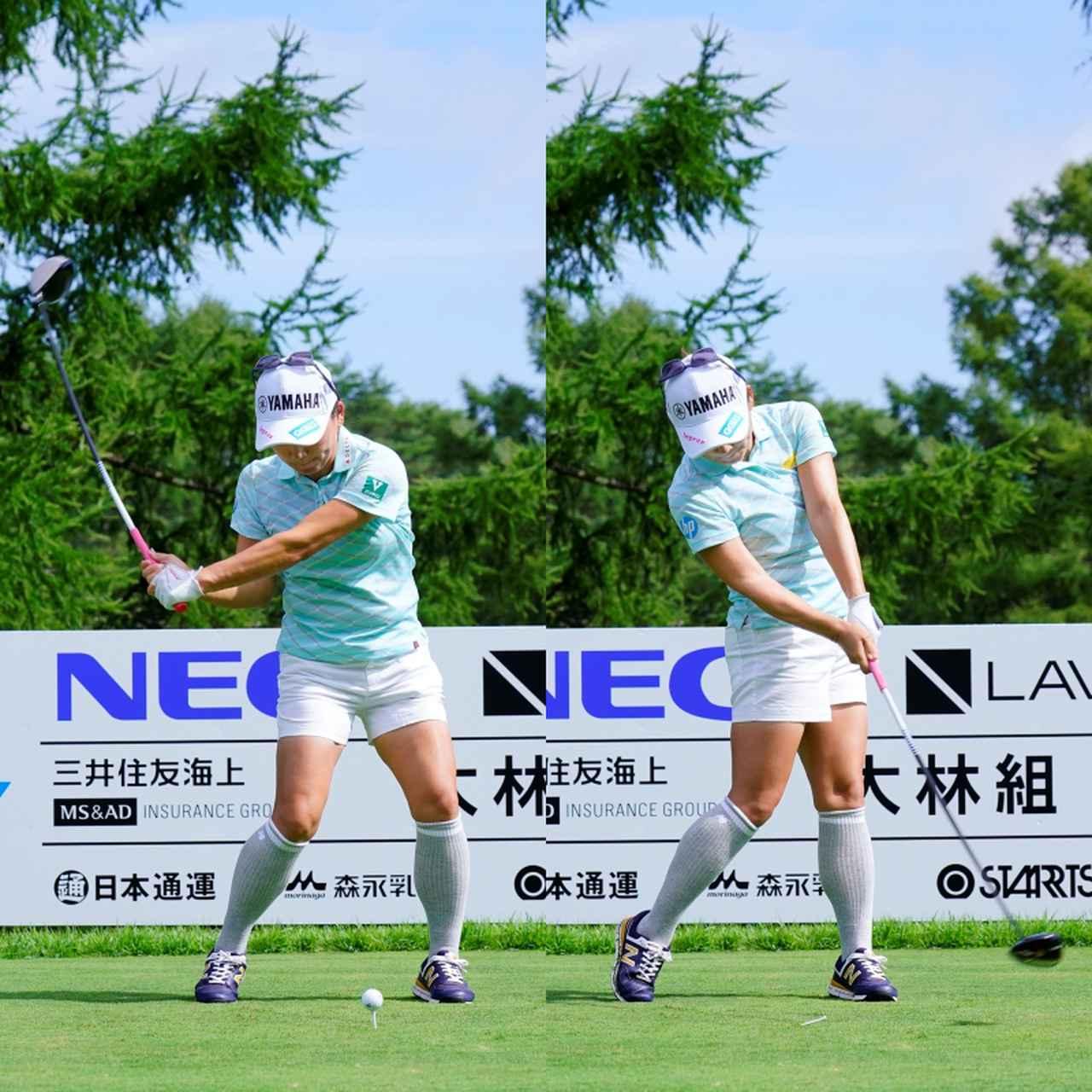 画像: 画像B:左足を踏み込んで切り返し(左)、インパクトでは左手首と前腕が一直線になるようにフラットに使うことでフェースをスクェアに戻し、方向性を確保している(写真は2020年のNEC軽井沢72ゴルフトーナメント 代表撮影/岡沢裕行)