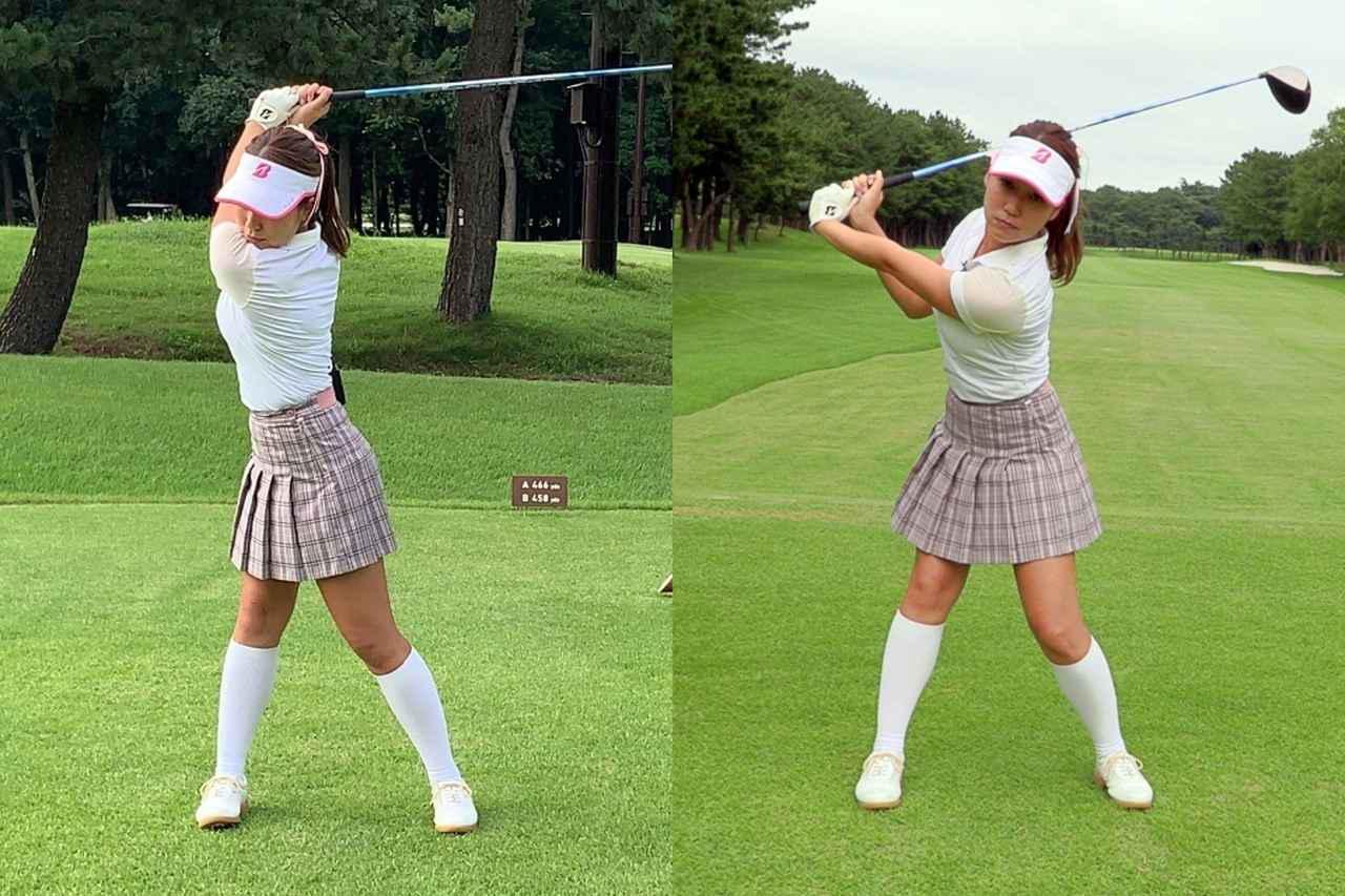 画像: クラブを高いところから下ろすほどヘッドは加速する。本来のトップ位置(左)よりも早い段階で切り返してしまう「打ち急ぎ」(右)はNGだと押尾