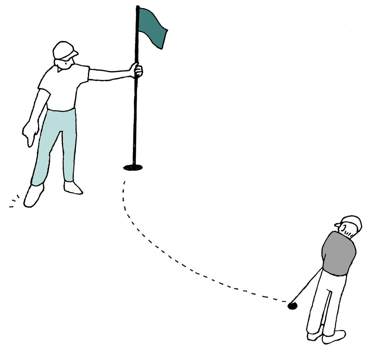 画像: 旗竿に付き添ったキャディーが、ラインの近くに立つことは例外的に認められている。しかし旗竿に付き添わないキャディーが、ストローク中に故意にラインの近くに立つのはダメ。