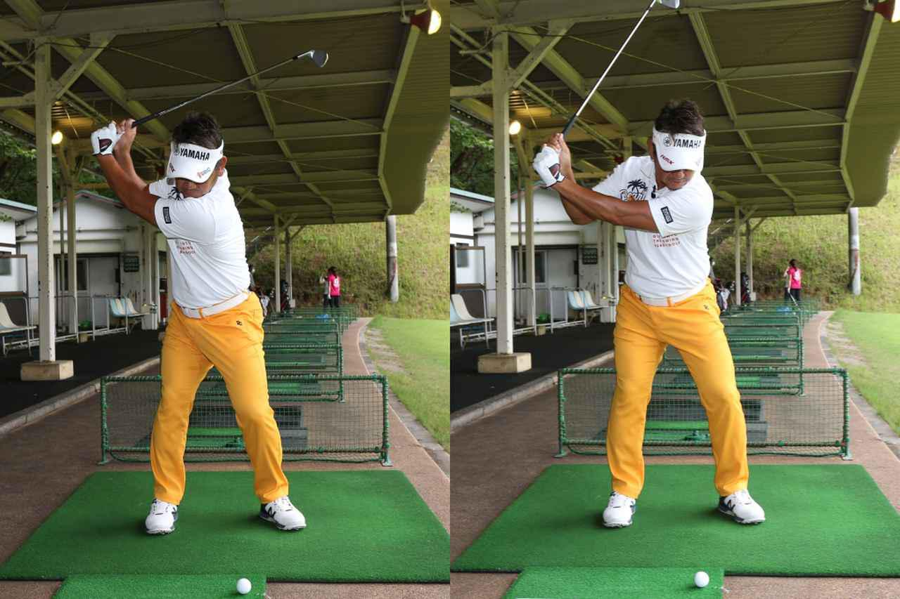 画像: 体の右サイドやかぶったり、左肩が開くことでアウトサイドイン軌道となり、ヘッドが被ってインパクトしてしまうことが引っかけが起こる最大の原因だという