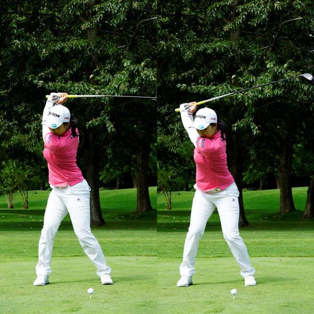 画像: 画像B トップで右のかかとに加重し(左)切り返しでは左足つま先に移動(右)させることで地面からの反力を効率的に使えるようになる(写真は2020年「ニトリレディス」代表撮影/上山敬太)