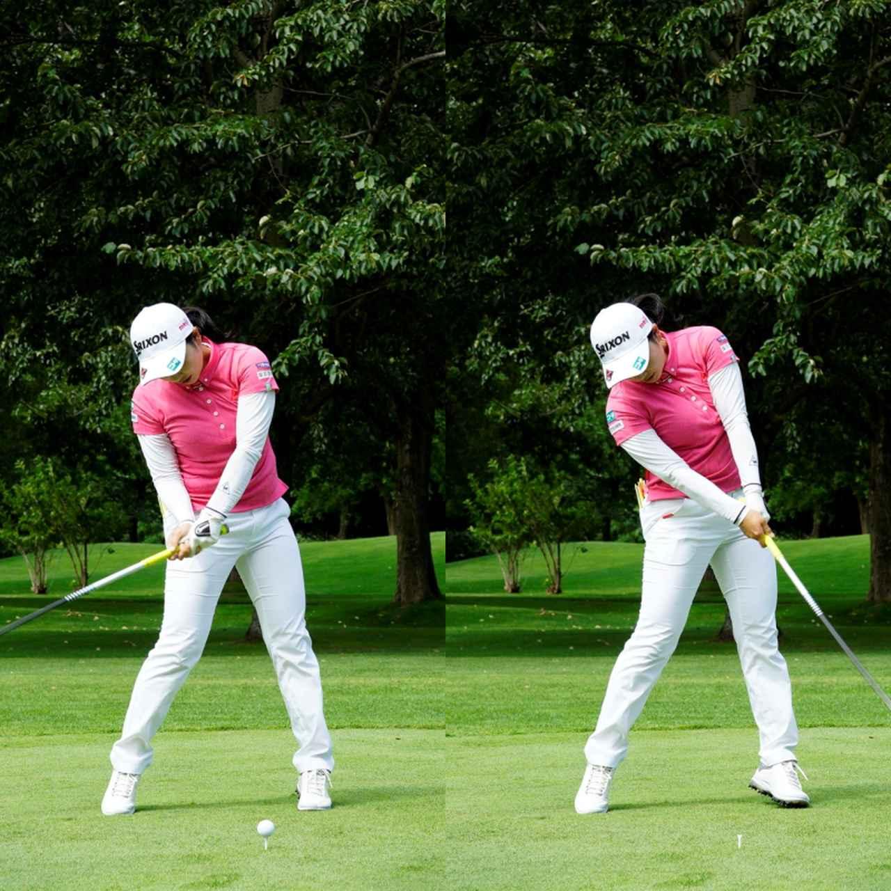 画像: 画像C 地面を踏み込みひざを伸ばすことで地面からの反力を回転力に変換する場合、頭の高さはキープされつつインパクト前には左ひざが伸びていることが重要(写真は2020年「ニトリレディス」代表撮影/上山敬太)