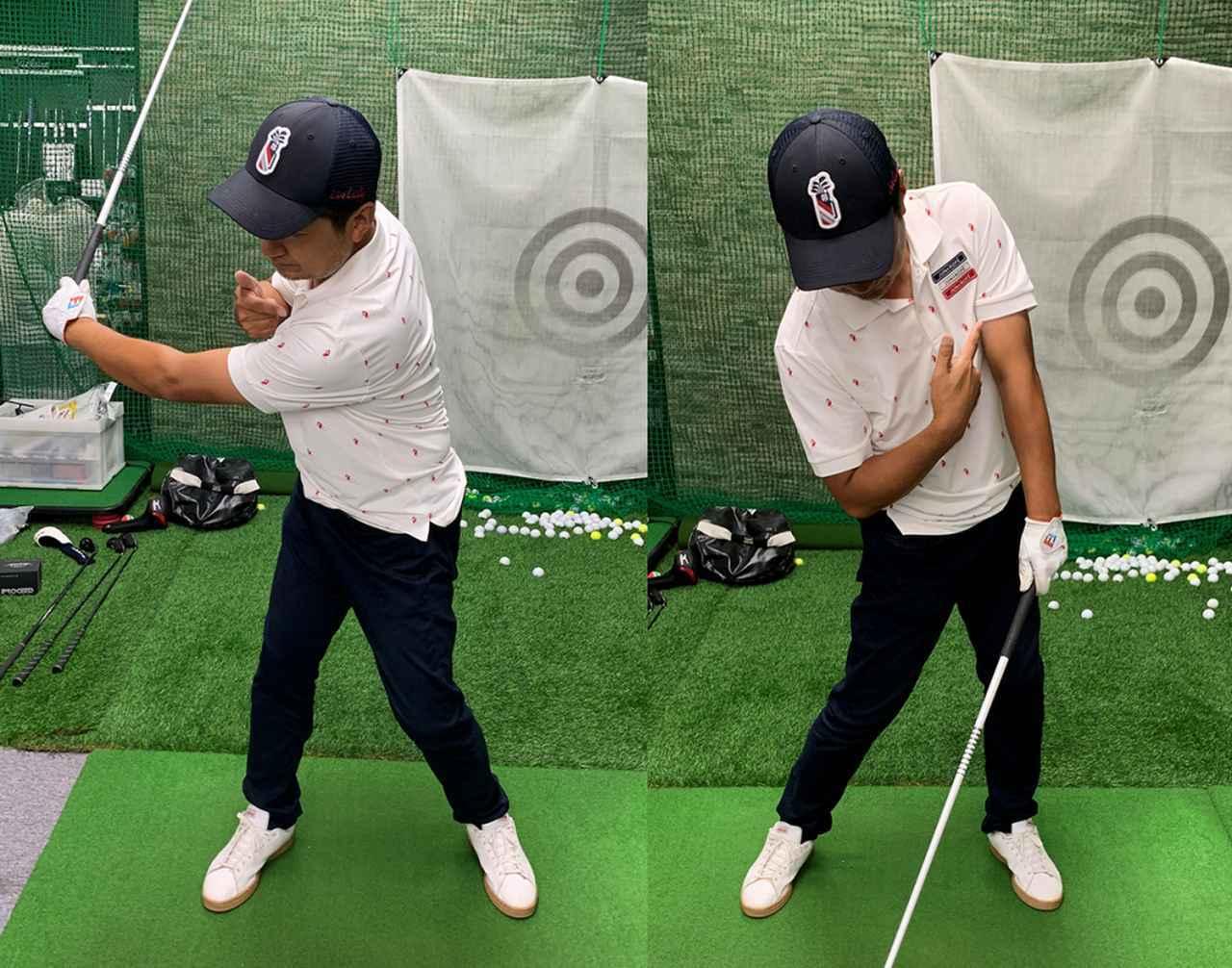 画像: (左)左手主導だとバックスウィングで自然と体が回る。(右)背中の大きな筋肉でクラブを下ろしやすくなるけれど、しっかりと下半身から始動してやることが大事です