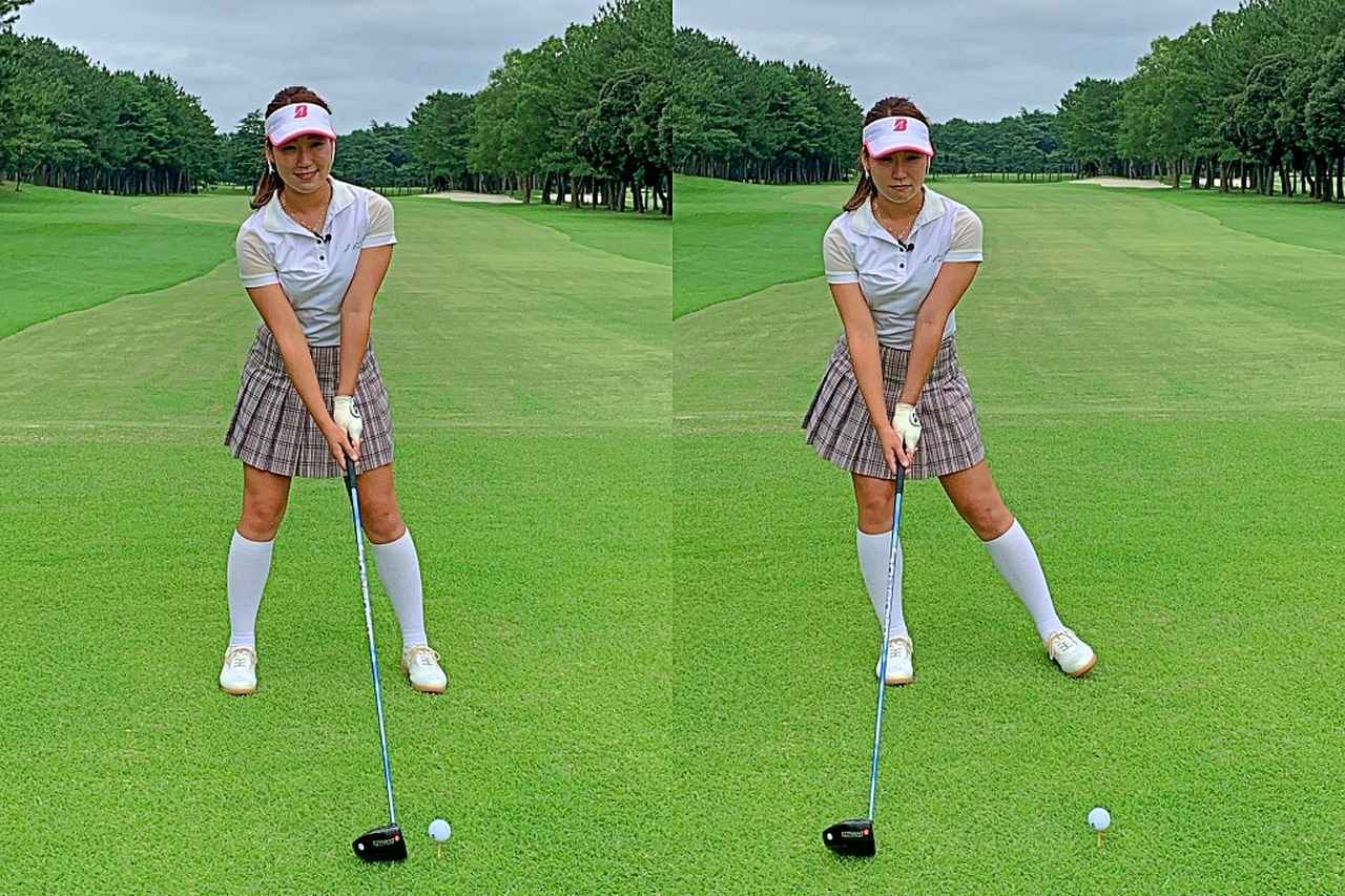 画像: 写真左の状態で十分右への体重移動は行われている。写真右のように大げさに右に乗り過ぎるのはスウェイ
