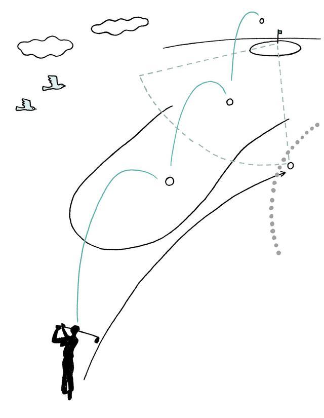 画像: グリーンに向けて球を打った瞬間、暫定球がインプレーに。仮にその直後、想定していたよりホールに近いジェネラルエリアで球が見つかったとしても、もはやそれは紛失球(誤球)。そちらでプレーしたいと思うのは人情だが、打てば2打罰だ