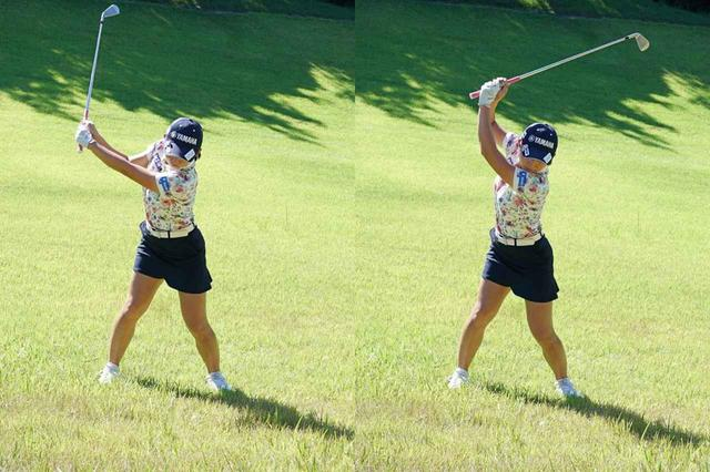 画像: つま先上がりでは肩の高さまで手元を上げるハーフショットが基本(左)。飛距離を出したい場合でも、スリークォーターショットに留めよう(右)