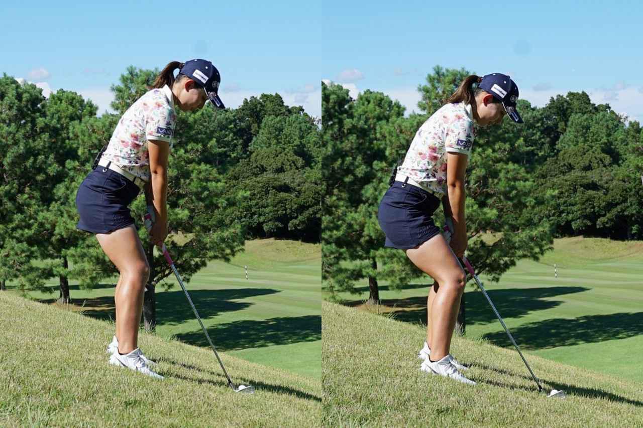 画像: 写真A:右のようにただ膝を曲げるのではなく、股関節に体重を乗せて下半身を全体を鎮めるイメージでアドレスしよう