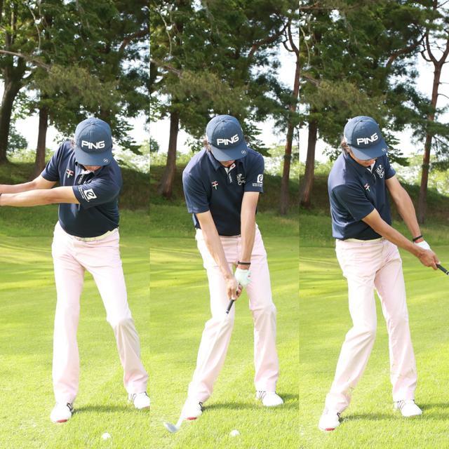 画像: 右利きのプレーヤーは切り返しから左サイドを積極的に動かすことを意識することで、力みを防ぎスムーズに振り抜ける