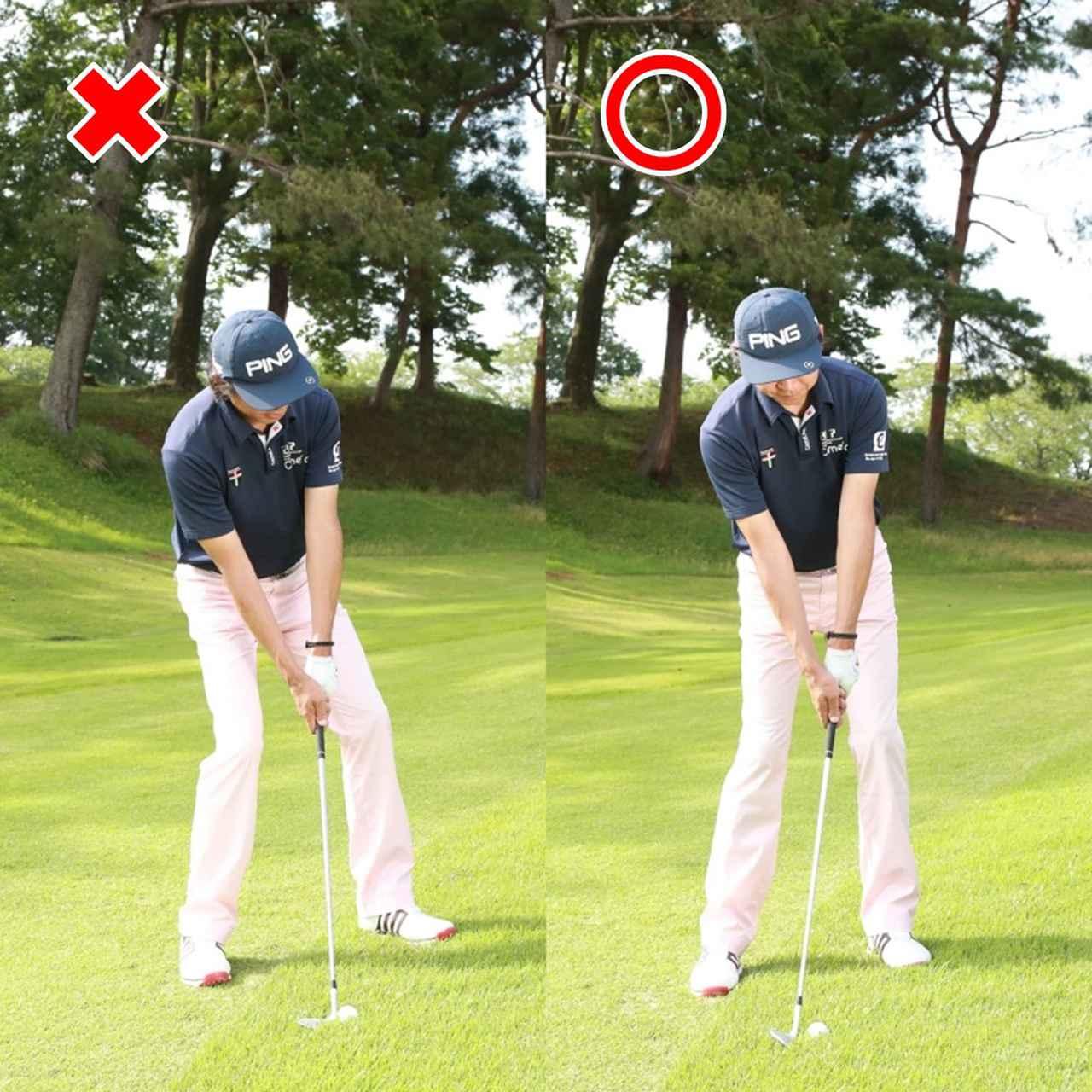 画像: バンカー越えであっても、左足上がりで35ヤードの距離を打つには極端にボールを上げるアドレスは必要ない(左)、左腕とクラブが一直線になったアドレスで球の高さはクラブのロフトに任せよう