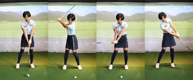 画像: アイアンを打つ際は体重移動を意識しているという小澤。アドレス時から左足に体重を乗せ、バックスウィングで右足、ダウンスウィングでまた左足、インパクトからフォローにかけて再度右足に少し体重を乗せているという