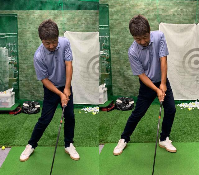 画像: 右写真のように左ひざが外に向くと力が逃げてしまうので、左写真のように左ひざをアドレス時と同じ方向で保つ