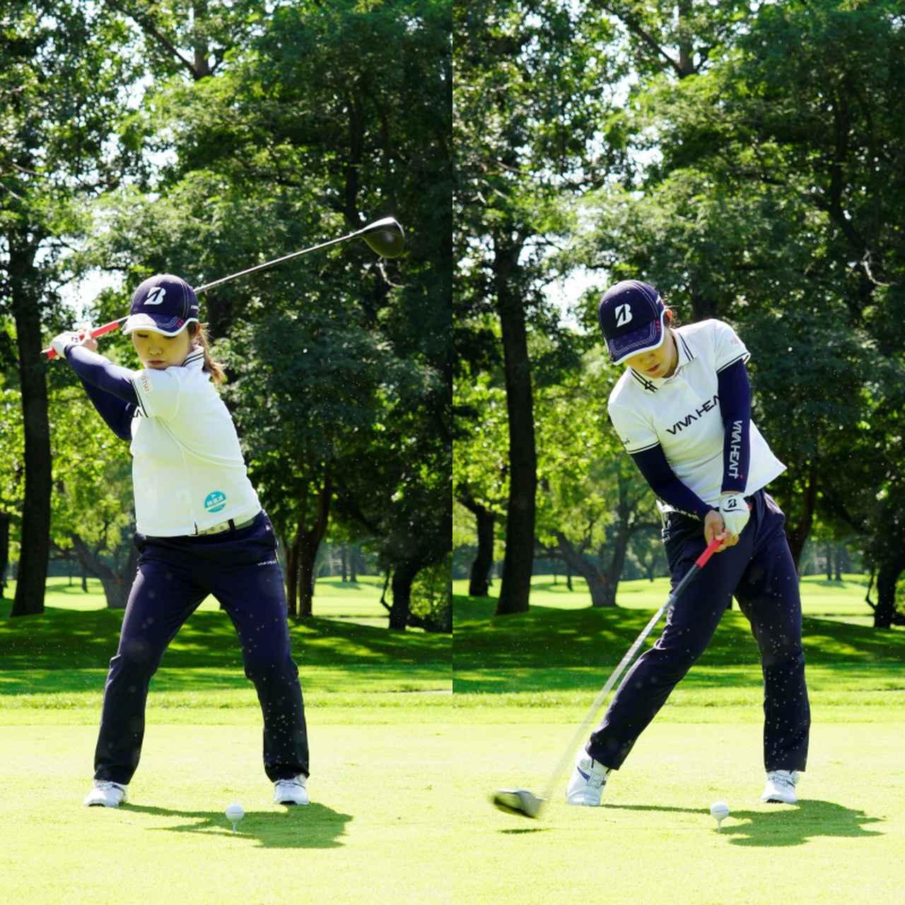 画像: 画像B 切り返しの早い餡会でボールをつかまえる準備が整い(左)、フェースがスクェアでいるゾーンが長い(右)(写真は2020年のニトリレディストーナメント 代表撮影上山敬太)