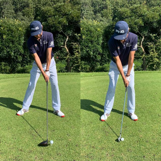 画像: 画像A:ドライバー(左)はボールより左(自分から見て右)に頭があり、7番アイアン(右)はボールの真上に頭がある。これにより、入射角、クラブの最下点は自然に変わる