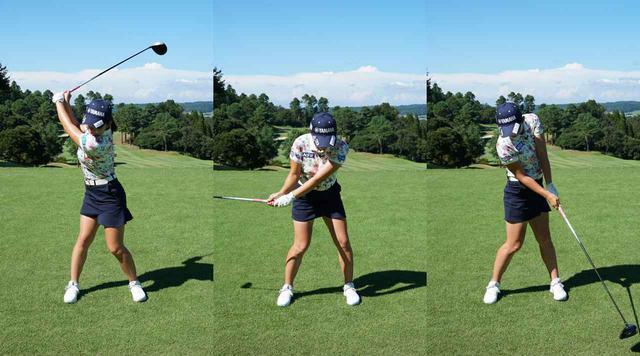 画像: トップ位置(左)からダウンスウィングにかけては、体の軸が右側へ倒れ過ぎないように、飛球線方向に倒す意識を持とう(中)。体の軸を維持しつつ右ひじのポジションも正しく保てていればスクェアなインパクトができると江澤(右)