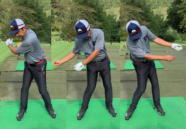 画像: 腕はあくまでも体の回転につられて「振られる」という感覚が大事