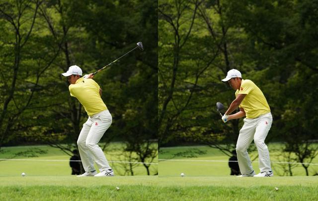 画像: 画像B:フェースが空を向くシャットフェース(左)で下半身で作った回転力でクラブを引き下ろす(右)(写真は2020年のフジサンケイクラシック 写真/大澤進二)
